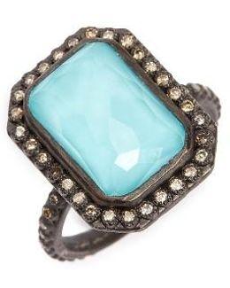 Old World Midnight Turquoise & Diamond Ring