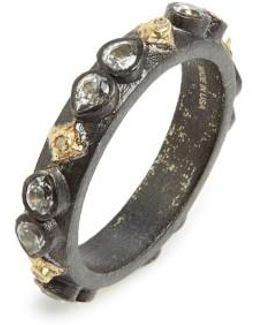Old World Sapphire Blackened Stack Ring