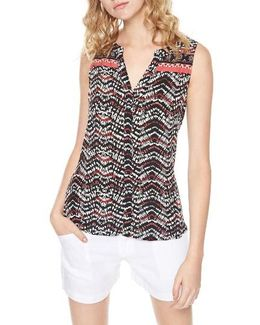 Craft Border Print Split Neck Top