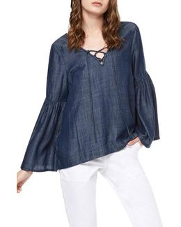 Lace-up Chambray Top