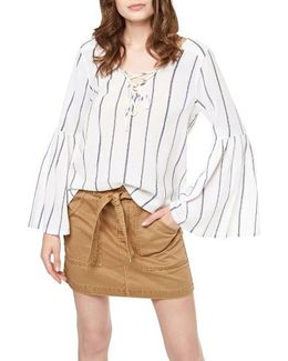 Lila Lace-up Stripe Top