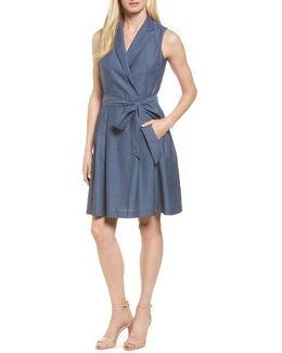 Denim Faux Wrap Dress