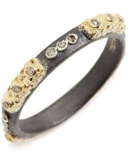 Old World Carved Diamond Stack Ring
