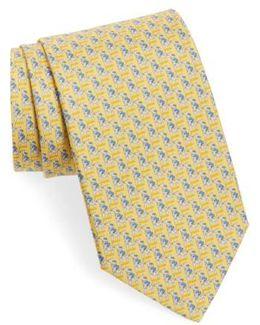 Teddy Bear Print Silk Tie