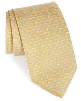 Elephant Print Silk Tie