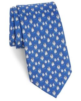 Debby Penguin Print Silk Tie