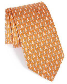 Dharma Elephant Print Silk Tie