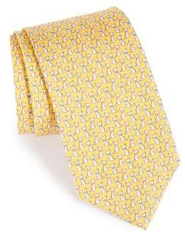 Augusto Dog Print Silk Tie