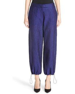 Crinkle Cotton & Silk Blend Pants