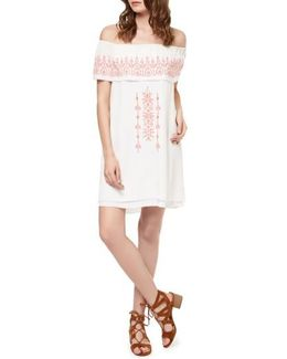 Lulu Embroidered Off The Shoulder Shift Dress