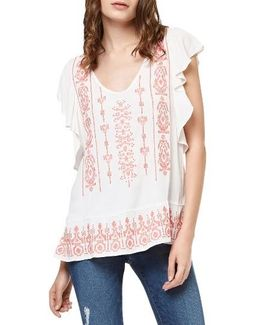 Ava Embroidered Flutter Sleeve Top