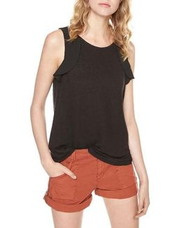 Ruffled Linen Knit Tank