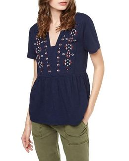 Carlisle Embroidered Babydoll Top