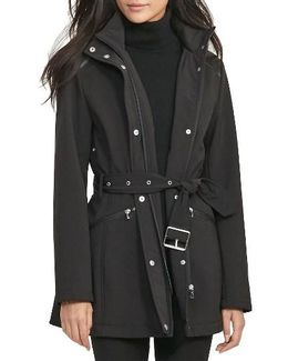 Belted Hooded Soft Shell Jacket