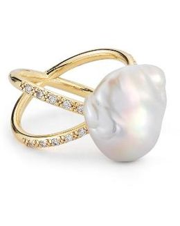 Pearl & Diamond Crossover Ring