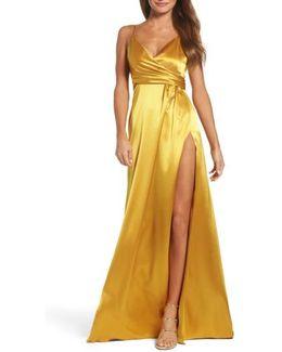 Faux Wrap Satin Gown