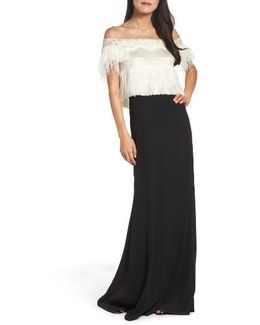 Off The Shoulder Ostrich Feather Gown