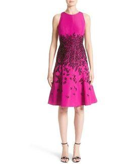 Carmen Marc Valvo Beaded Fit & Flare Dress