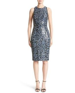 Carmen Marc Valvo Sequin Sheath Dress