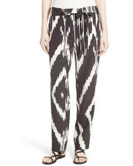 Gunilla Interlace Ikat Print Silk Pants