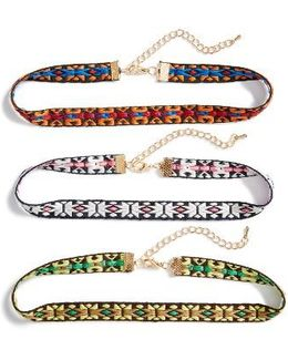Set Of Three Choker Necklaces