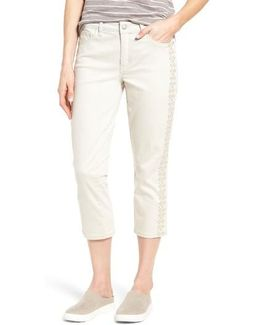 Alina Embroidered Stretch Capri Jeans