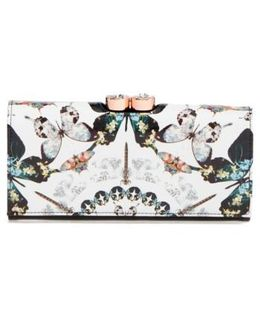 Butterfly Print Leather Matinee Wallet