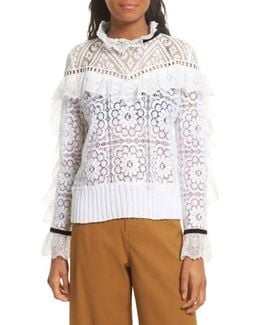 Ruffle Lace Sweatshirt