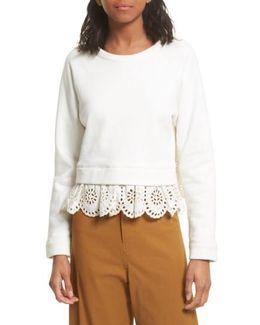 Eyelet Trim Sweatshirt