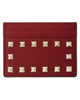 Rockstud Leather Card Holder - Burgundy