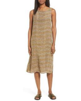 Stripe Bateau Neck Silk Dress