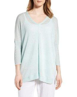 V-neck Sheer Linen Pullover