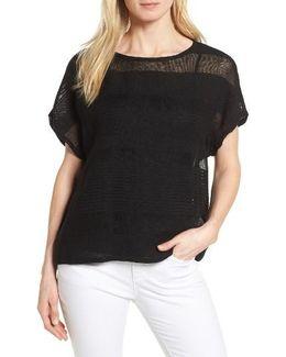 Organic Linen Blend Sheer Stripe Sweater