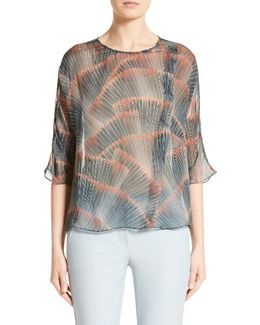 Feather Print Mulberry Silk Blouse