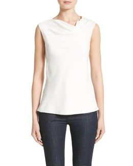 Cowl Neck Stretch Silk Charmeuse Top