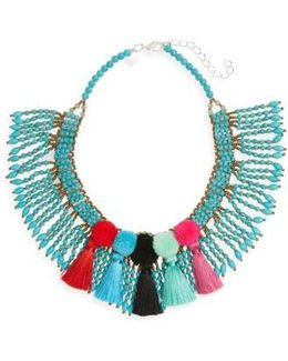 Beaded Pompom Tassel Statement Necklace