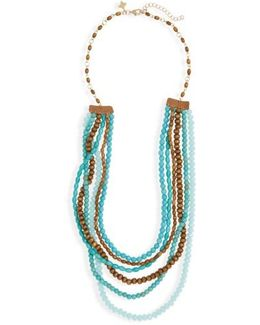 Wood & Stone Beaded Multistrand Necklace