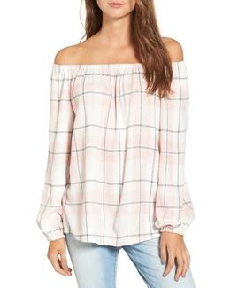 Off The Shoulder Plaid Blouse