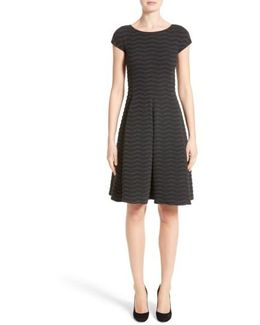 Embossed Jacquard Jersey A-line Dress