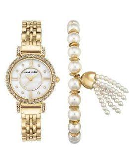 Crystal Watch & Tassel Bracelet Set