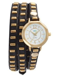 Baguette Stud Leather Wrap Strap Watch