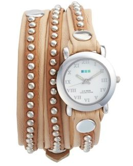 Bali Stud Leather Wrap Strap Watch