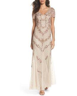 Beaded Mesh Mermaid Gown