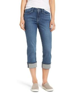 Dayla Embroidered Wide Cuff Capri Jeans