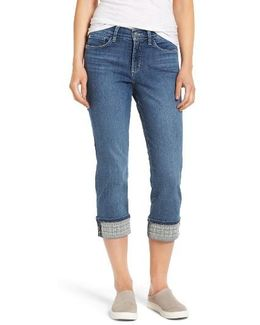 Dayla Embroidered Wide Cuff Capri Jeans
