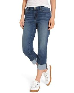 Dayla Wide Cuff Stretch Capri Jeans
