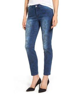 Alina Print Slim Ankle Jeans