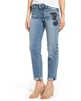 Jessica Embroidered Boyfriend Jeans