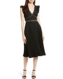 Studded Pleat Fit & Flare Dress