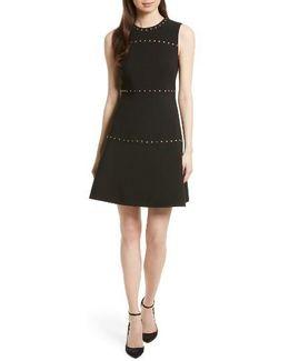 Studded A-line Crepe Dress